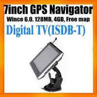 Free Digital TV and map on Car GPS Navigation system with bluetoot hand av in
