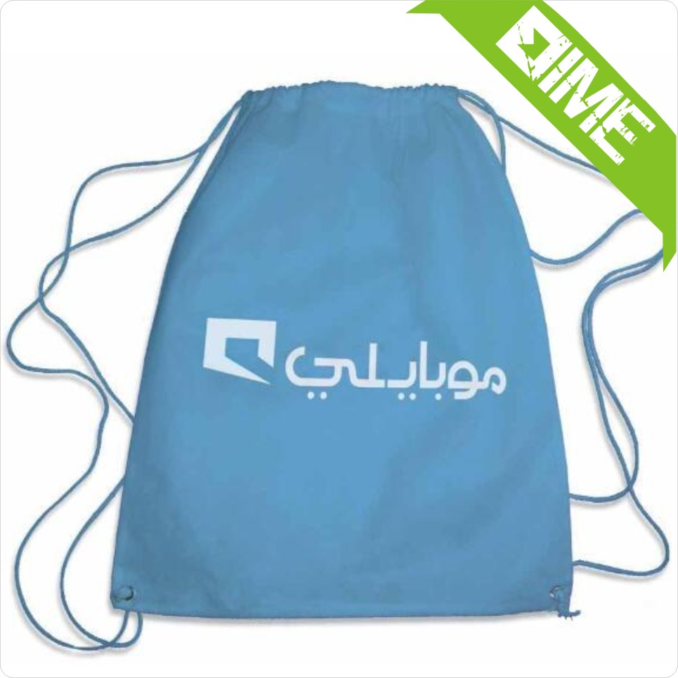 Low Moq And Low Price Light Blue Cotton Drawstring Bag.
