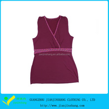 Newly Slim Fit Tank Top with Leaf Decorated