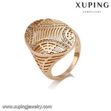 14419 New stylish women jewelry hollow oval shaped zircon paved finger ring for sale