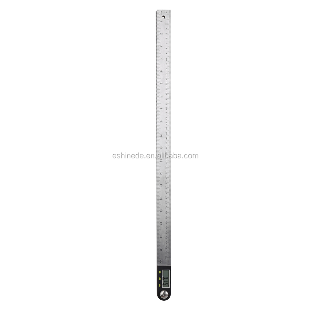 New 2-in-1 Stainless Steel Electronic Digital Display 200/300/500mm Protractor Angle Finder Ruler for Measuring
