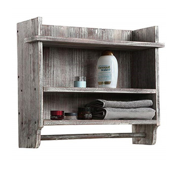 Rustic Wall Mounted Wood Bathroom Organizer Rack with Shelves and Hanging Towel Bar