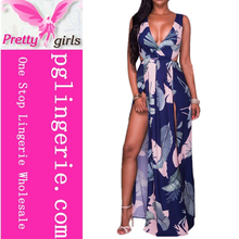 women dress with printing v-neck sexy bohemian maxi long dress floral summer beach wear