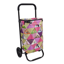 YY1603-2 China supplier wholesale homz tote cart metal folding shopping trolley bag with 2 wheels
