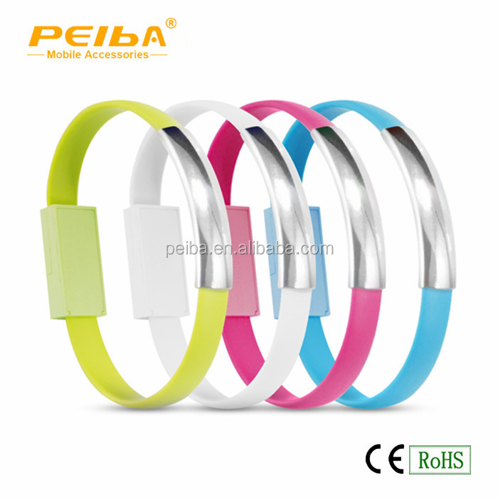 Creative Mobile Phone Bracelet Wrist Band Charger USB Charging Charge Data Sync Cable