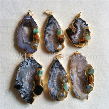 WT-P948 Exclusive Natural Grey Geode Agate Pendant In Randomly,Hot Gold Plated Raw Agate With Triple Gemstone Agate Pendant