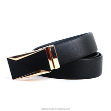 wholesal mexican good quality 120cm gold buckle black genuine automatic leather belt strap