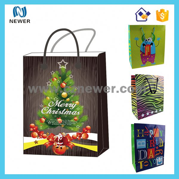 Ribbon tie paper gift bag, apparel packaging bags for T-shirt