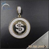 Hip hop fashion mini gold dollar pendant with sand