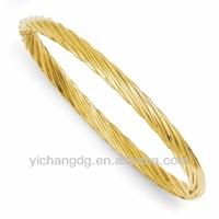 Twisted 4.5mm 14k Gold Bangle Bracelet