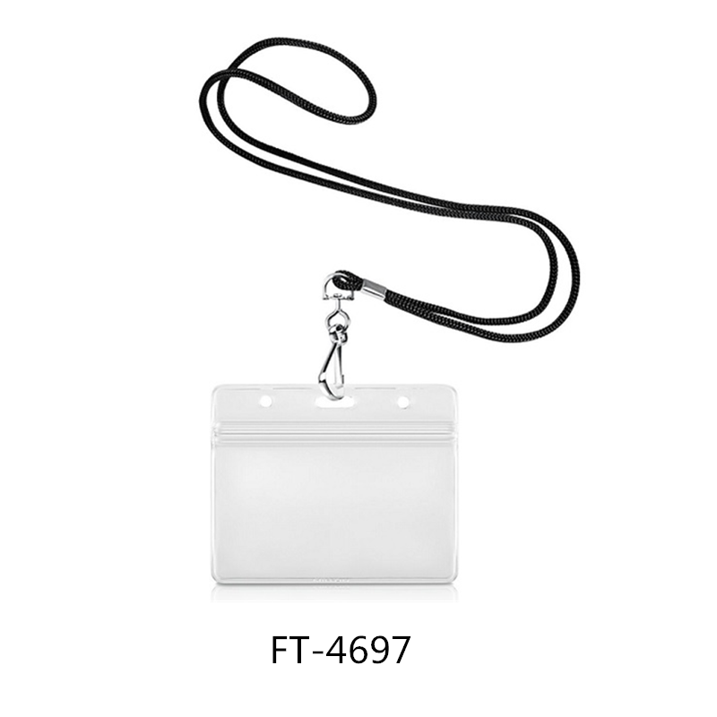 PP Lanyard J Shape Clip Horizontal Name Badge PVC ID Card Holder With Zip