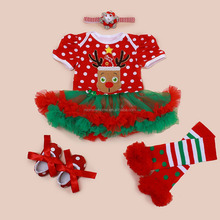 Organic cotton Christmas fawn baby rompers wholesale baby clothes M5040319