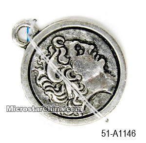 Round Zinc Alloy Coin Charm Pendant With Engraved Image Approx 25mm Diameter