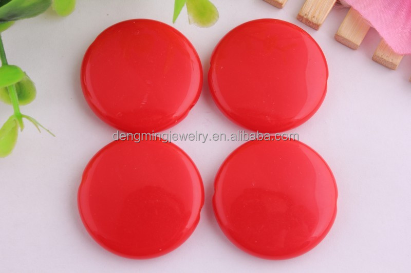 Bulk sales Large chunky red acrylic flat round beads for Kids Necklace Jewely Making