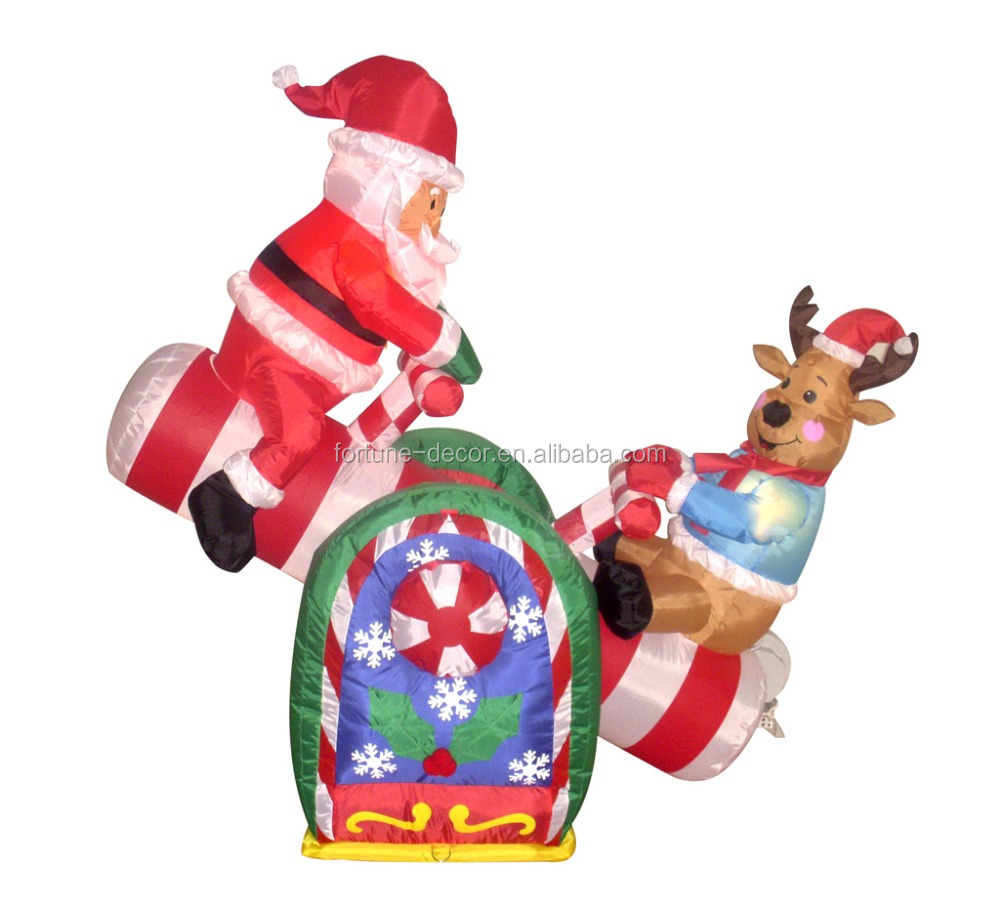 120cm/4ft inflatable santa claus and deer play a seesaw happily for Christmas decoration