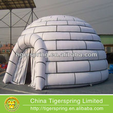 Hot welding or sewing tan tent inflatable