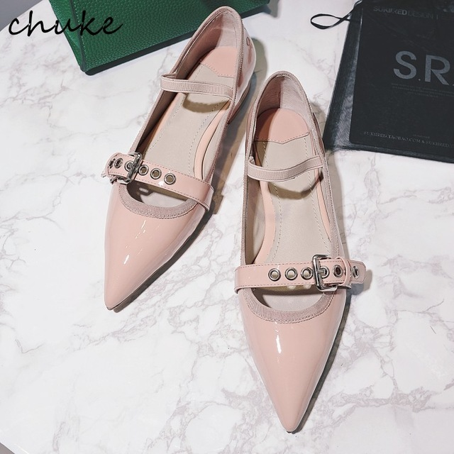 Free Shipping Nude Color Women Shallow Flat Shoes Buckle Strap Genuine Patent Leather Runway Shoes Fashion Point Toe Shoes