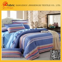 BS20 100% cotton white and blue striped printing bed cover fabric