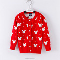 low price new arrival fashion design cute Mickey head red children clothes sweater cardigan