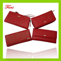 Flower printing and fashional design artificial leather or genuine leather wallets for women