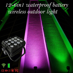 12pcs 6 in 1 RGBWA UV waterproof battery wireless dmx uplight wall washer akku washer led par can light China manufacturer