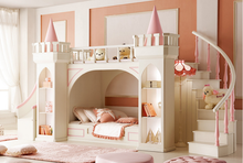 Latest design Royal castle small princess bedroom furniture kids bunk bed for girl