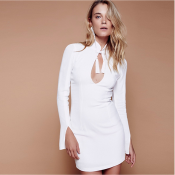 Slim white color sexy long sleeve high collar bodycon long fashion dress for women