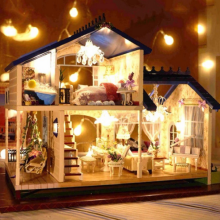3D Assembling game DIY villa Model Kit Wooden Doll House Paris Apartment House Toy with Furnitures