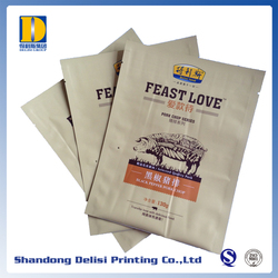 High Quality Foiled Three Sides Sealed Beef Steak Food Pouches Best Sale