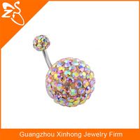 Surgical Steel Free Crystal Ball Belly Piercing Navel Belly Button Ring