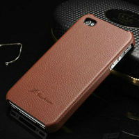 Litchi Leather case for iPhone 4s 4 Leather back cover for iPhone 4s 4g with faddist logo New arrival high quality phone case