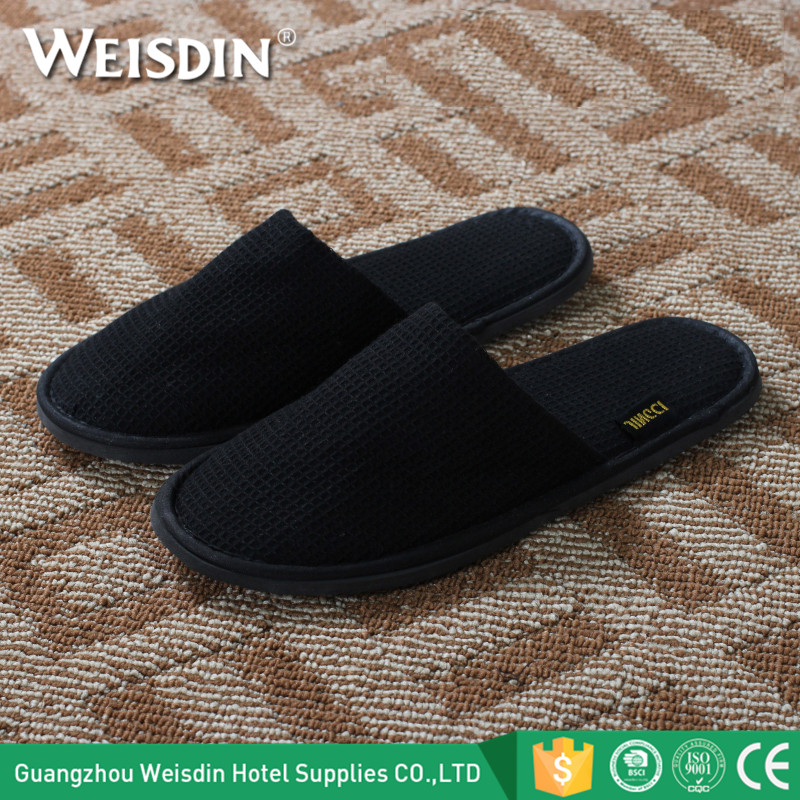 Hotel Supplies black waffle cheap wholesale slippers