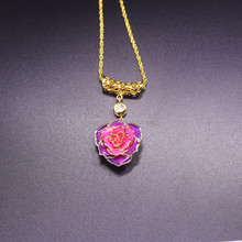 Top Pretty Gift 24K Gold Rose Necklace with Real Rose inside The Forever Rose Necklace
