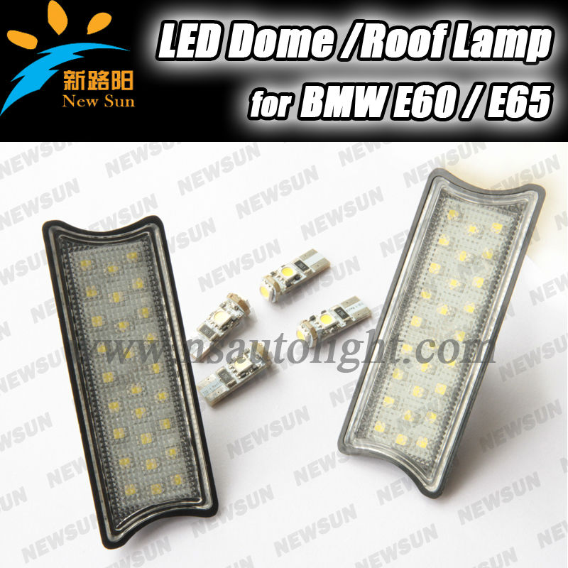 2014 New 2 pcs DC 12v car Led interior decorated dome/roof lights for BMW E60 E65 E87 auto reading lighting with 4 T10 led bulb