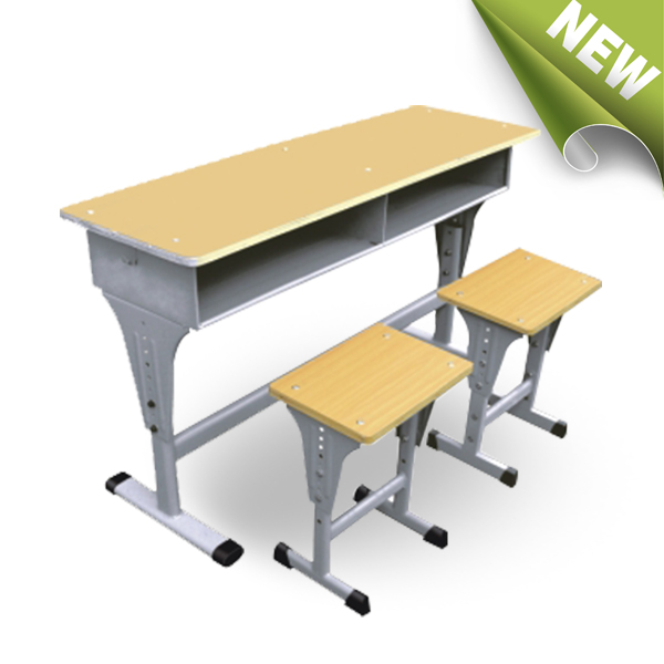 2017 new design school desk and chair set/Adjustable double seater student desk and chair