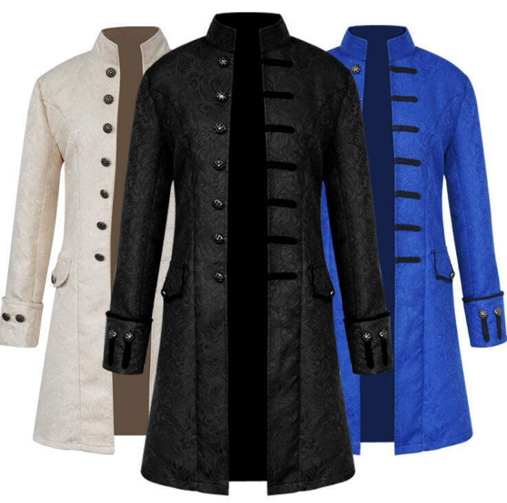 New Mens Fancy Brocade Steampunk Multi color Gothic Jacket Victorian Frock Coat