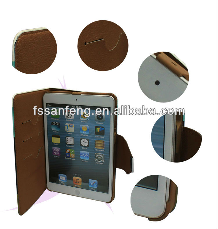 Factory original design hand strap folding leather case for ipad mini,stand pouch case for ipad mini