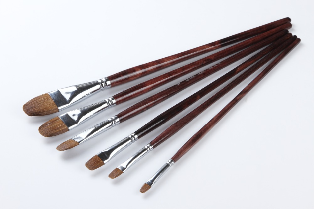 Artist Brushes for acrylic weasel hair with brass ferrule
