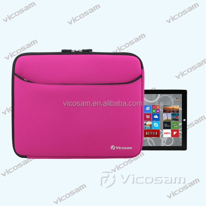 2017 new hot neoprene tablet case for microsoft surface pro 3, 12inch sleeve case cover pink with pocket for tablet accessories