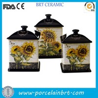 Sunflower design hand print giftware decorate pottery Canister Set