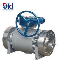 Cast Steel WCB High Pressure Worm Gear Operated 2 Flanges Trunnion Mounted Ball Valves