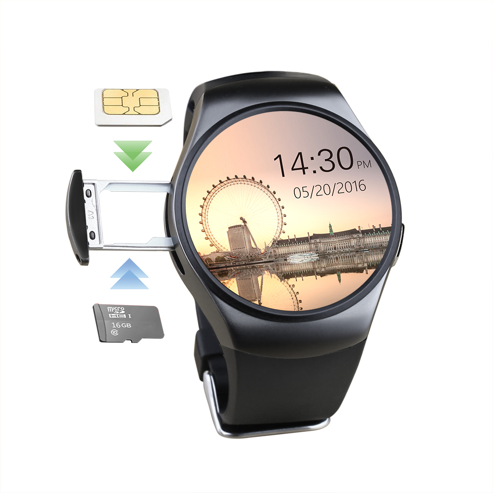 1.3 inch whole round IPS display HD smart mobile watch phones KW18 with SIM card