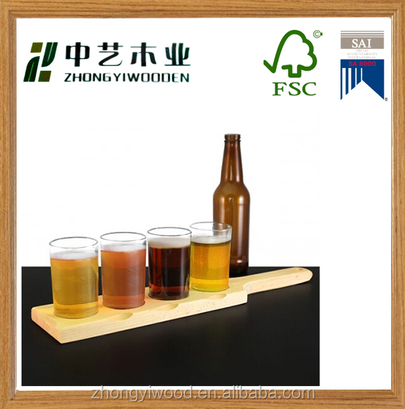 Trade assurance Best Beer Flight Set Wood Shot Glass Tray Pilsner Beer Flight for Bar Tools