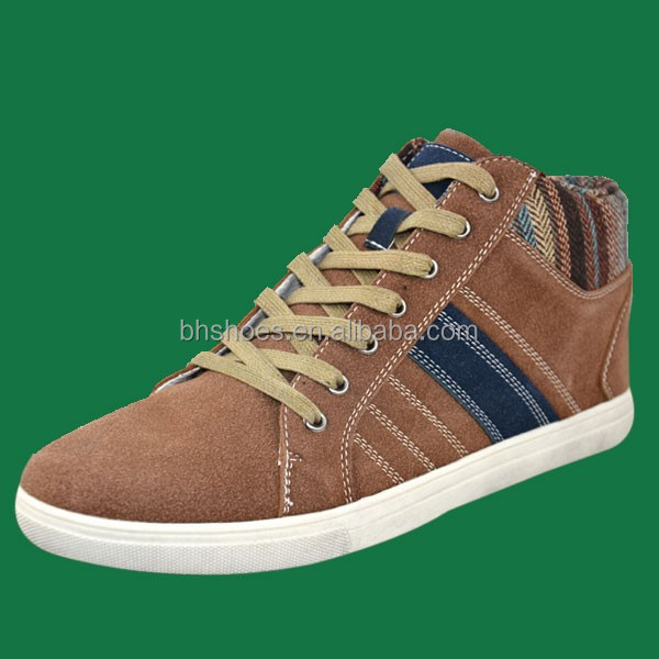 BH096550 Hot selling outdoor high quality men brown high cut sneakers shoes