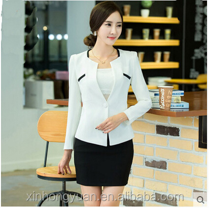 custom 2015 new fashion winter white slim office ladies skirts suits/blazer for women