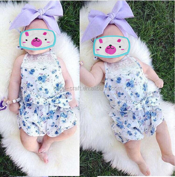 High Quality Summer Baby Girls Ruffle Lace Flower Rompers