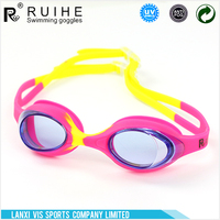 Silicone anti-fog colorful swimming goggles for kids