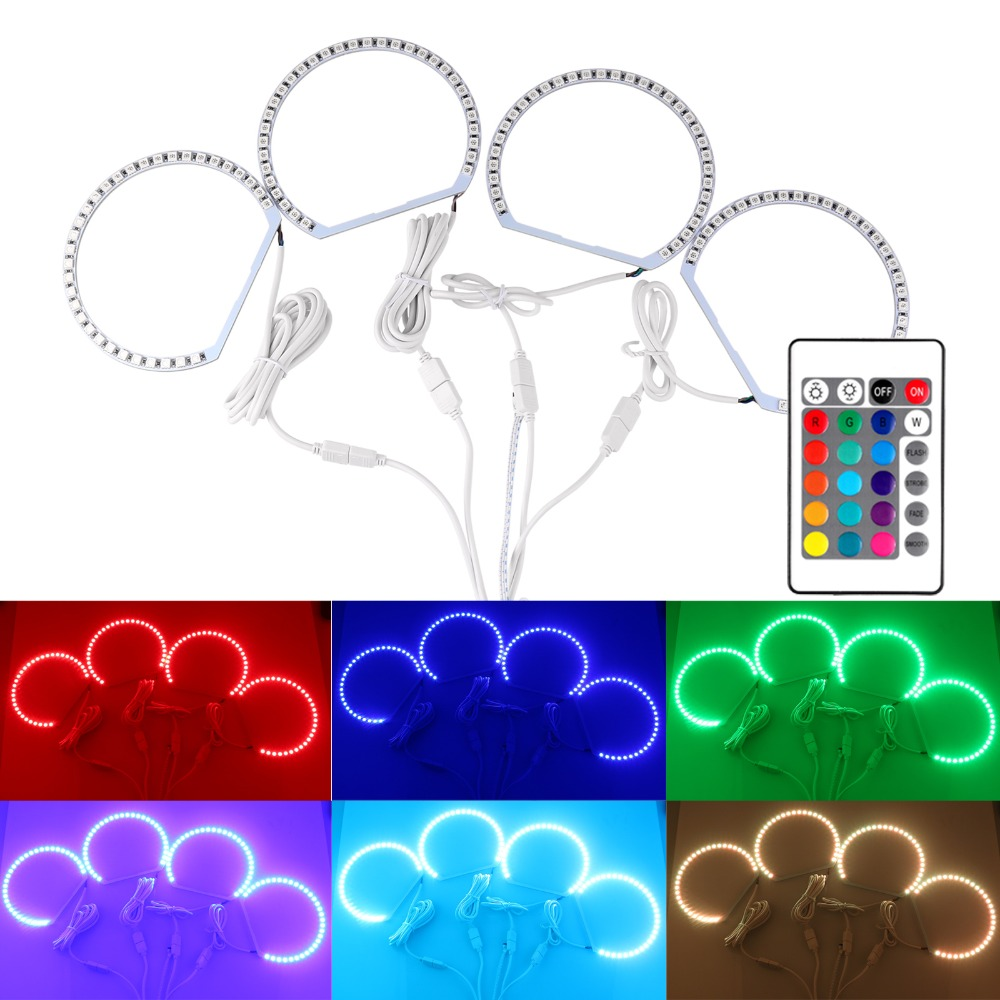 4x 5050 RGB LED Halo Rings Kit Lamp Bulbs 70mm Super Bright Car Light With 24 Key Remote Control