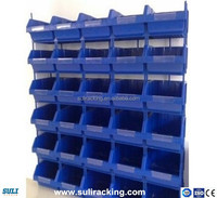 Plastic storage bin in warehouse