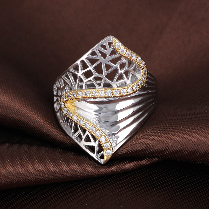 Saudi Arabia White Gold and Gold Plated Wedding Designs Silver Rings for Men